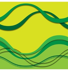 Abstract green waves with shadows vector