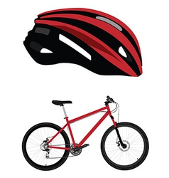 Bicycle helmet and bicycle vector