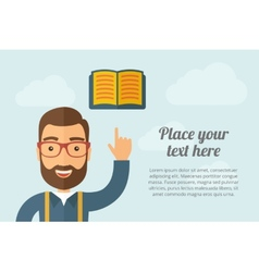 Man pointing the book icon vector