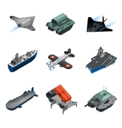 Military equipment isometric set vector