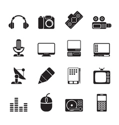 Silhouette media equipment icons vector