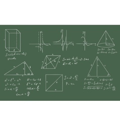 Mathematics and geometry on green blackboard vector