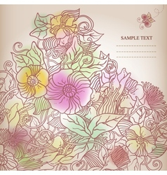 Floral background hand drawn retro flowers and vector