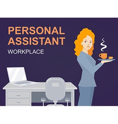 Woman portrait personal assistant with co vector