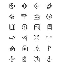 Map and navigation line icons 5 vector