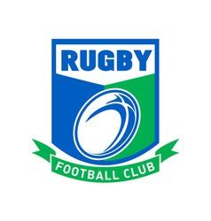 Rugby ball football club shield vector