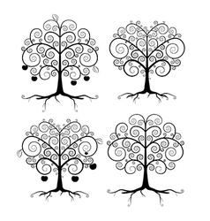 Abstract black tree set vector