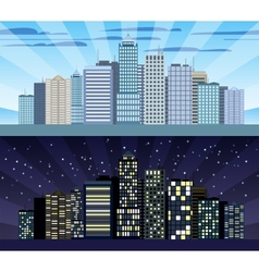 Cityscape tileable border day and night vector