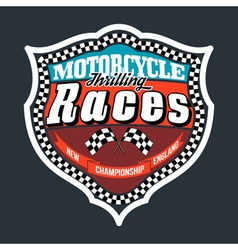 Motorcycle thrilling races badge t-shirt vector