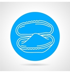 Oyster blue round icon vector
