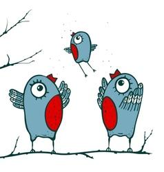 Happy birds family teaching to fly vector