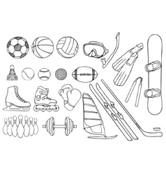 Different sport items set vector