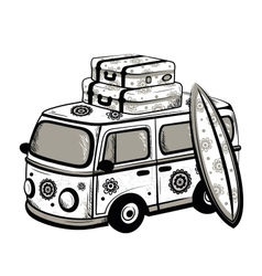 Retro travel bus vector