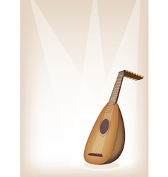 A beautiful antique lute on brown stage background vector