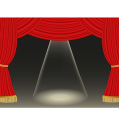 Theater curtains background with spotlight vector