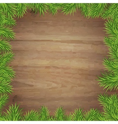 Fir tree branches and wood background vector