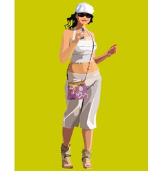 Beautiful woman on the go eating candy vector