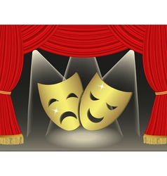 Theatrical masks on red curtains background vector