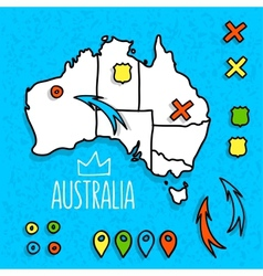 Cartoon style australia travel map with pins vector