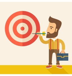 Working man holding a target arrow vector