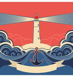 Lighthouse label with anchor and blue sea waves vector