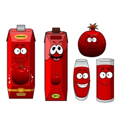 Cartoon happy smiling pomegranate juice characters vector