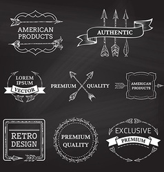Set of chalk arrows design elements on blackboard vector