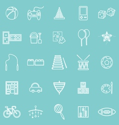 Toy line icons on green background vector