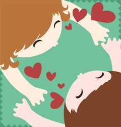 Couple in love hug and kiss vector