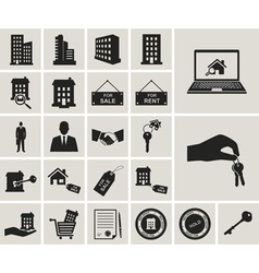 Houses and real estate web icons set vector