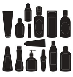 Set of cosmetic bottles silhouettes vector