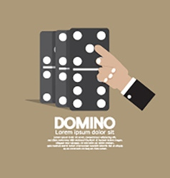 Finger pushing to domino row vector
