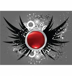 Glossy button on grunge wings vector