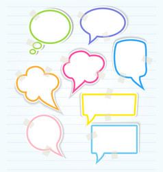 Set of colorful speech bubbles with sticky tape vector