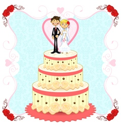 Romantic wedding cake vector