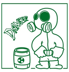 Person in a gas mask vector