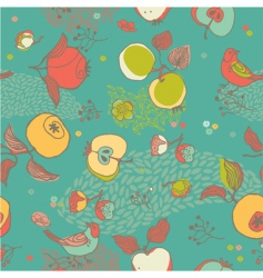Fruit pattern with bird vector