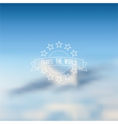 Blurred flying airplane background outline label vector