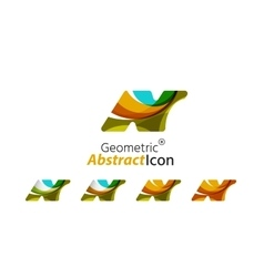 Set of abstract geometric company logo n letters vector
