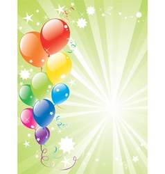 Festive balloons and lightburst vector