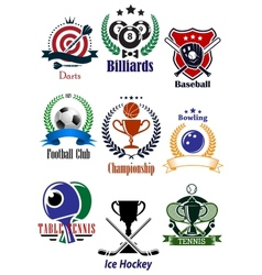 Colored sports tournaments emblems set vector