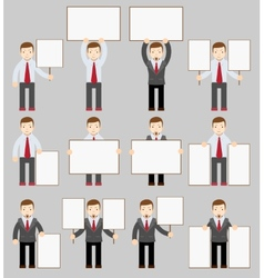 Collection of office worker with posters vector