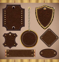 Leather labels set vector