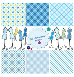 Set of seamless checkered patterns and mannequins vector