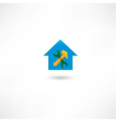 Repairing a house blue icon vector