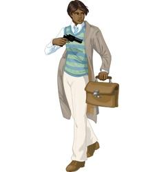 Afroamerican retro boy with a gun cartoon vector