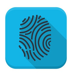 Fingerprint app icon with long shadow vector