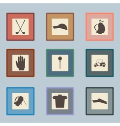 Golf sport items silhouette icon set driver vector