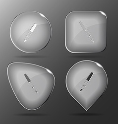 Ink pen glass buttons vector