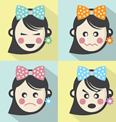 Woman different facial expressions flat design vector